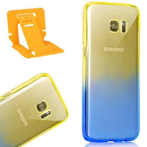 360 Degrés Full Protection Transparent Coque pour Samsung Galaxy S8 Plus,Galaxy S8 Plus Soft Silicone Tpu Coque Mode,Ekakashop Double Protection Touch Crystal Clair Souple Gel Housse avec Motif Jaune  Jaune Pente Bleu