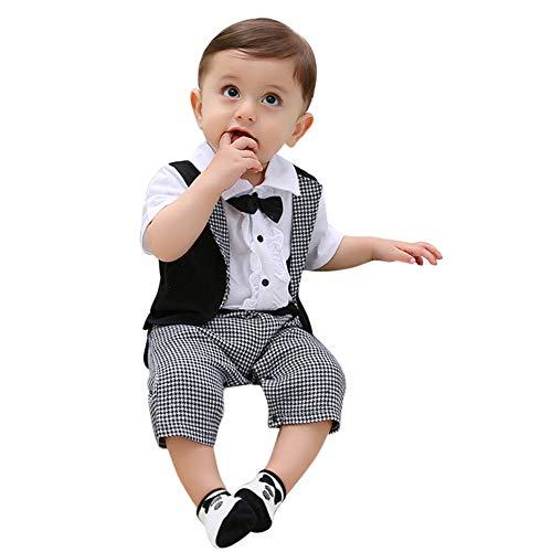 Battnot Baby Jungen Bekleidungssets Strampler Bowtie Gentleman Anzug Hosen Kariert Schwalbenschwanz Neugeborenes Sommer Kurzarm Fliege Krawatte Overall Outfits, 6-24 Monate Kleinkind Kinder Kleidung