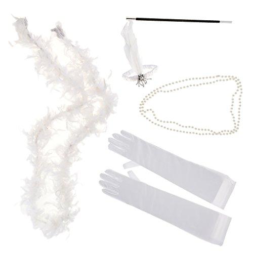 D DOLITY 5pcs Vintage Gatsby Kostüm Accessoires Set Charleston Zubehör Set Flappers Kit für Cosplay Hen Party und Karneval - ()