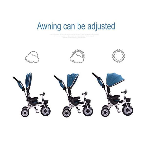 GSDZSY - Foldable Children Tricycle 4 IN 1 With Comfortable Seat With Fence And Seat Belt, Adjustable Putter And Awning, 1-6 Years Old GSDZSY ❀ MATERIAL : High carbon steel + ABS + rubber wheel, suitable for children from 1 month to 6 years old, maximum load 30 kg ❀ FEATURES : The push rod can be adjusted in height , the baby can sit or recline; the adjustable umbrella can be used for different weather conditions ❀ PERFORMANCE : high carbon steel frame, strong and strong bearing capacity; non-inflatable rubber wheel, suitable for all kinds of road conditions, good shock absorption, seat with breathable fabric, baby ride more comfortable 5