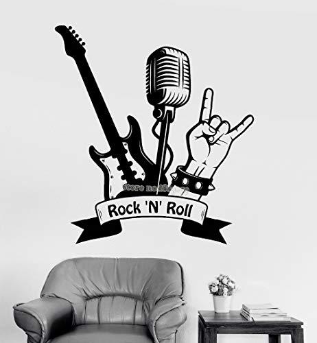 at Rock'n'roll Gitarre Mikrofon musikalische Aufkleber Wandbilder Wandaufkleber für die Zimmer Innenverzierung des Jungen ()