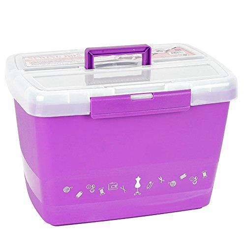 Große stabile Nähbox - Nähkoffer - Kunststoffbox (lila)