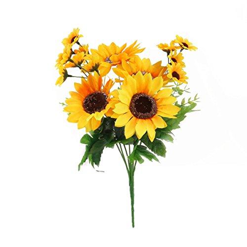 OUNONA Lebensechte künstliche Plastik Sonnenblume Köpfe Home Party Dekoration-Props (gelb)