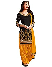 Y2Y Women's Black Crepe Printed Unstitched Salwar Suit Dress Material (YY08_Free Size_Black)