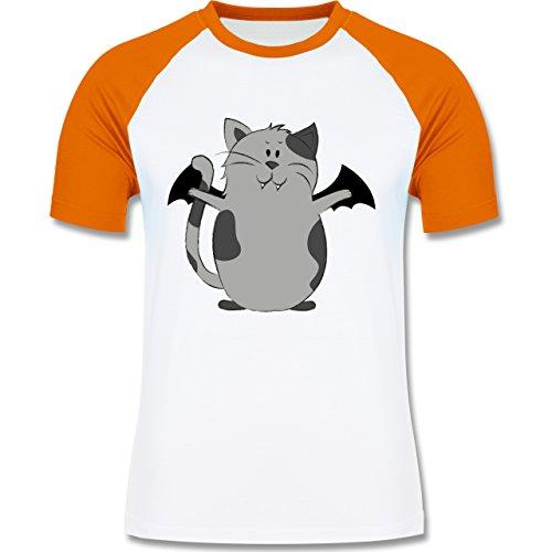 Halloween - Katze Halloween - L - Weiß/Orange - L140 - zweifarbiges Baseballshirt für (Kostüm Wildkatze Böse)