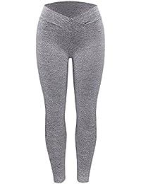 Felz Leggings Deporte Mujer, Pantalones Yoga sólido Leggings Largo Elásticos Deportivos para Mujer Cintura Alta Delgados para Training Running Yoga Fitness