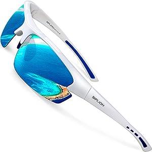SIPLION Hombre Gafas De Sol Polarizado Deportes para Ciclismo Pesca Golf TR90 Superlight Marco 502 BLUE