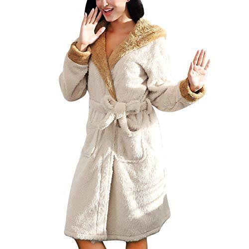 HYL0 Abendkleid-Damen Bademantel Damen Winter Plüsch Schal Bademantel Kaninchenohr Hut Nachthemd Mantel Pyjamas Lang ZZBiao (Color : White, Size : S)