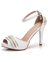 Minitoo MinitooUK-MZ8214, Sandales Pour Femme - Blanc - White-7.5cm Heel, 36.5 EU