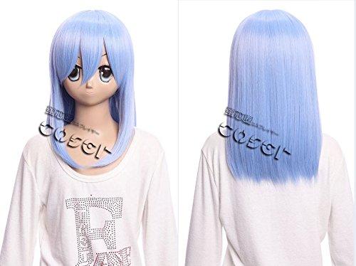 W-02-BC39 hell Blau light blue 40cm COSPLAY Perücke WIG Perruque Haare Hair Anime Manga (Blue Light Perücke)