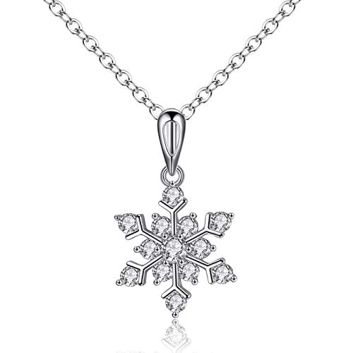 Amzpartner gioiello charm pendente donna fiocco di neve - 16 mm x 16 mm. 14 pietre di ossido di zirconio - venduto con scatola di gioielli christmas time