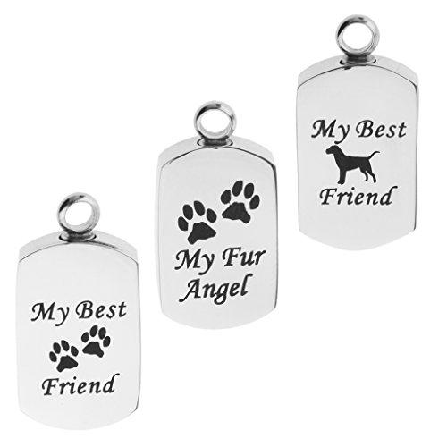 non-brand Sharplace 3 Stk. Hunde+ Pfote Muster Urne Anhänger Edelstahl Gedächtnis Asche Andenken Urne Behälter - Behälter Asche Pet