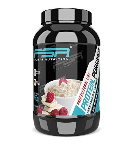 Porridge mit Proteinpulver und glutenfreien Haferflocken für leckeren Frühstücksbrei - Made in Germany - FSA Nutrition - 750 g - Weiße Schokolade Himbeere