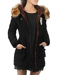 iLoveSIA® Manteau femme à capuche fourrure chaud mid-long style