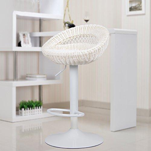 Chairs Europäischer Stil Freizeit-Bar Drehstuhl Lift up and down Bar Stuhl Home High Füße Hocker LI Jing Shop (Farbe : Weiß-2)
