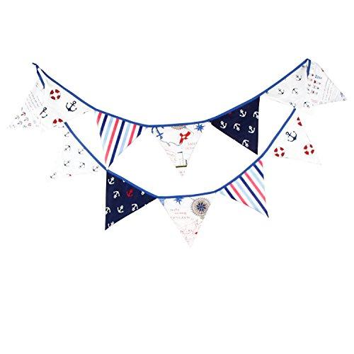 JZK Blau Stoffgirlande Wimplekette Haenge Girlande Stoff Wimpel Girlande, Deko für Junge Geburtstag Kinderparty Babyparty Taufe Babyshower