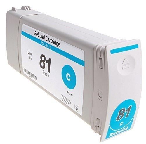 Bubprint Tintenpatrone kompatibel für HP 81 Designjet 5000 5500 Dye cyan (Dye Hp Cyan)