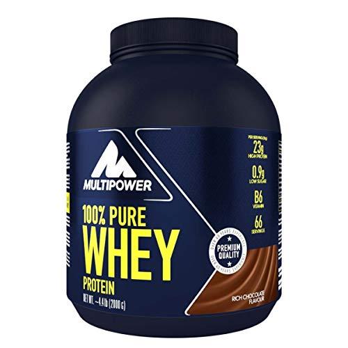 Multipower 100{33677dfdff55e23c0bafb43d7a906435e1006144b25805241f2ce5ddf191fd9d} Pure Whey Protein - wasserlösliches Proteinpulver mit Schokoladen Geschmack - Eiweißpulver mit Whey Isolate als Hauptquelle - Vitamin B6 und hohem BCAA-Anteil - 2 kg