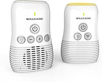 Vigilabebé Audio, Tecnología Inalámbrica de 2,4 GHz, Comunicación Bidireccional, Visión Nocturnal, Micrófono de Alta Sensibilidad, Indicador de Batería Baja et de Nivel de Sonido, Alcance de Hasta 300 M - Willcare