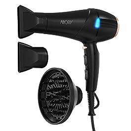 Abody Asciugacapelli Professionale, 2200W Potente Asciugacapelli Ionico con 2 Velocità, 3 Temperature, Manopola Dell…