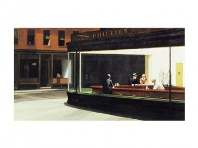 Leinwandbild - Edward Hopper - Nighthawks - 69x38cm - Premiumqualität - Kunstdruck auf Leinwand - American Scene - Made in Germany - Art Galerie Shop - American Leinwand