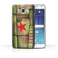 Custodia/Cover/Caso/Cassa Rigide/Prottetiva STUFF4 stampata con il disegno Aereo caccia Ala per Samsung Galaxy J7 (2016) -