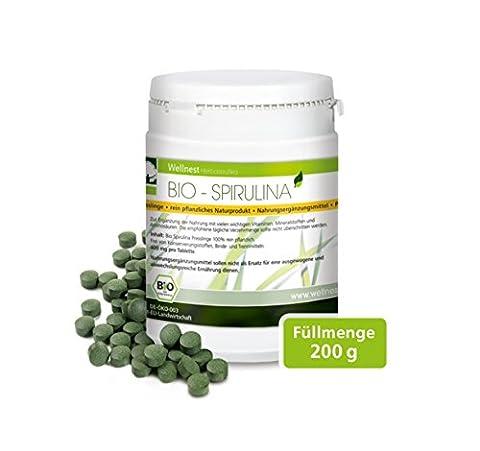 Wellnest Bio Spirulina   Detox Superfood mit hochwertigem Protein   Blaualgen vegan   500 Presslinge à 400 mg