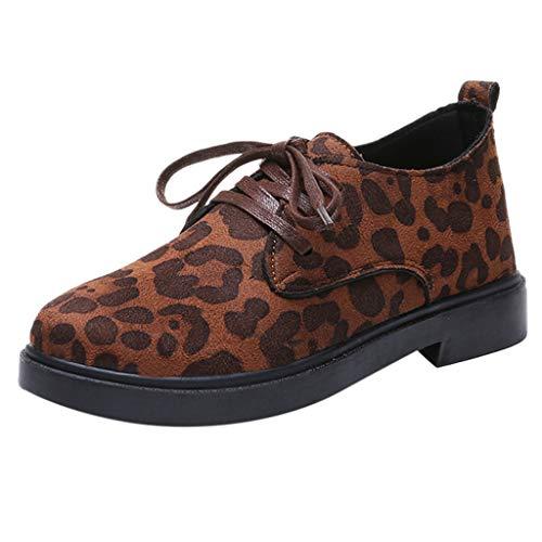 Yvelands Damen Runde Zehe Flock Schnürschuhe Quadratischer Absatz Jobs Einzelne Schuhe Freizeitschuhe(CN-35,Khaki)