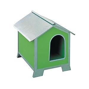 Niche pour chiens taille moyenne en bois avec profils en acier (mesures 76x 56x 77)