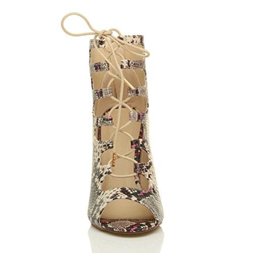 Damen Hohen Absatz Schnüren Ausgeschnitten Käfig Stiefeletten Sandalen Größe Beige Schlange
