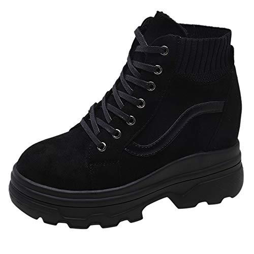 Toasye Damenmode Gestreifte Dicke Versteckte Ferse Boots Stiefeletten Socken Runde Kappe Freizeitschuhe Turnschuhe