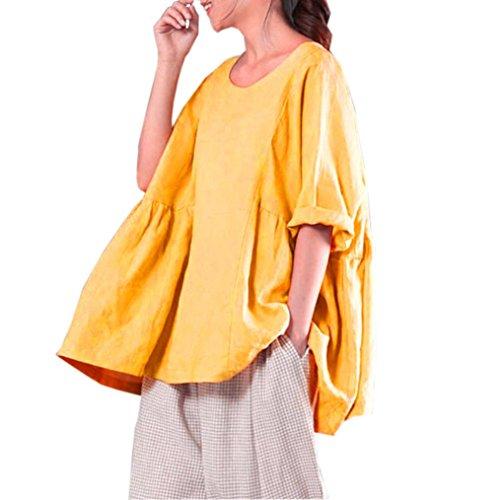 Top Suelto Mujer Verano, Covermason Mujeres Que Imprimen Las Camisas Blusa de Manga Larga Casual(48,Amarillo)