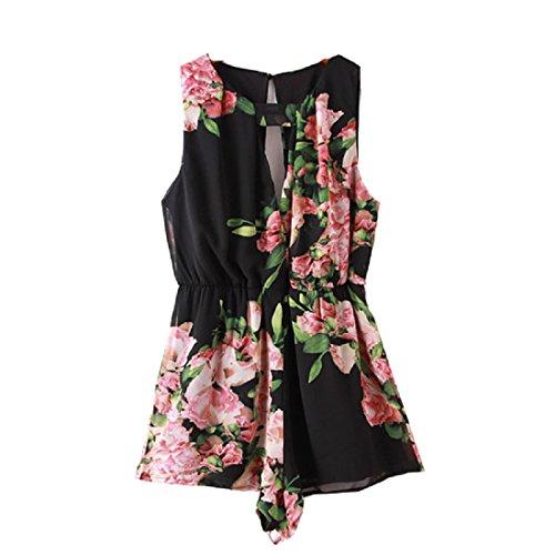 Culater® Femme Floral Print Manches en Mousseline de soie sans Dossier Combinaison Pantalon Court Noir