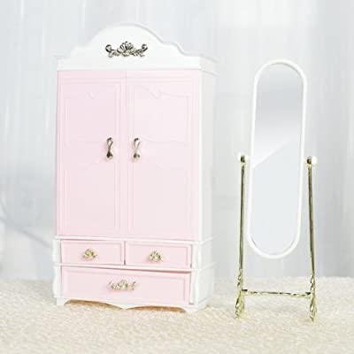 Doll House Furniture Wardrobe Mirror Set for 29cm Dolls - low-cost UK wordrobe store.