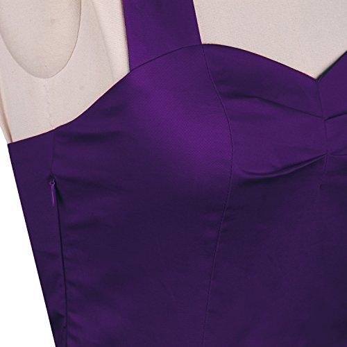 LUOUSE Damen 'Audrey Hepburn' Polka Dots Druck Holder Weinlese- Rockabilly Swing Abend Hochzeit Abschlussballkleid 2Purple