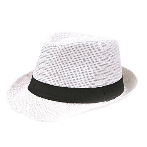 Fablcrew, cappello panama di paglia, cappello da sole unisex pieghevole estivo a tesa larga, da spiaggia, per uomo e donna, White, 56-58 cm