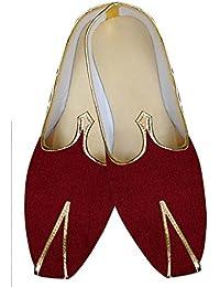 INMONARCH Hombres Gales Tejido Rojo Zapatos de Boda MJ015882