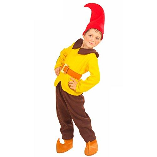 Zwerg Kostüm Wichtel Kinderkostüm 110 cm gelb-braun Gnom -