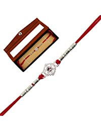 JEWEL FUEL Silver Designer Rakhi With Velvet Gift Box(Silver,RR6489200)