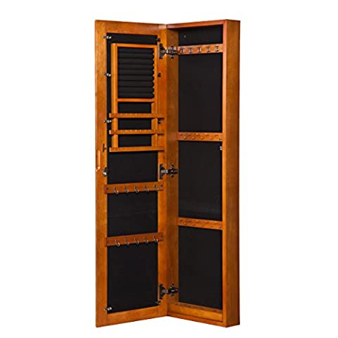 Southern Enterprises Wood Wall Mount Jewelry Armoire with Mirror,