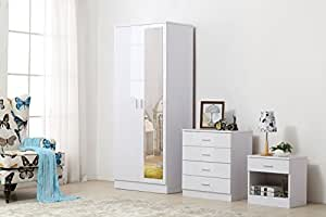 OSSOTTO Mirrored High Gloss 3 Piece Bedroom Furniture Set - Soft Close Wardrobe, 4 Drawer Chest, Bedside Cabinet (White on White)