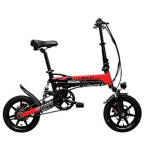 41RXV5FG1WL. SS300 LANKELEISI G100 14 Pollici Bicicletta elettrica Pieghevole, Motore da 400W, Sospensione Completa, Doppio Freno a Disco…