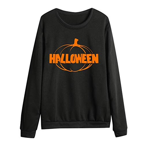 Halloween Damen Sweatshirt Loose Fit Halloween Party Frauen Casual Kürbis Drucken Lange Ärmel Pullover Rundhals Top Herbst Winter Lomelomme Blusen Damen (Damen Zinn Mann Kostüm)