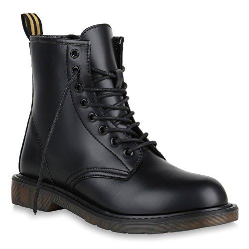 Kurze Schwarze Stiefel (Stiefelparadies Damen Stiefeletten Leder-Optik Outdoor Worker Boots Profil Schuhe 150005 Schwarz Gelb 39 Flandell)