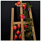 Buimin Lampe de décoration 10LED de la chambre des enfants de fruit de fraise rouge chambre d'enfants avec chaîne aux à l'énergie solaire Patio Porch Mobile intérieur Décor Lumineux terrasse (C)