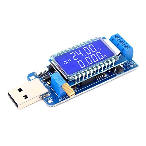 Spannung Strom Wandler (PEMENOL DC-DC LCD USB Step Up/Down-Stromversorgungsmodul, Einstellbarer Boost-Buck-Wandler Voltmeter Amperemeter Batteriekapazität Tester)