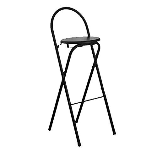 Klappbare Stahlrohr-stühle (LYN QWER Barhocker, Hocker, Barhocker, Stühle, Sofas, Hocker Barhocker klappbar Haushaltsfischer Hocker Moderne Barhocker Rückenlehne Stahlrohr Verdickung (Farbe : Schwarz))