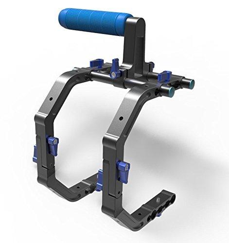 Morros Doppel-C-Form Unterstützung Schulter Cage für 1/4 '' Schraube 15mm Stange mit Henkel DSLR Anlage-Rail-System für Camcorder wie Canon 550D 500D 600D 1100D 60D 50D 40D 5D 5DII 5DIII Nikon D300 D5100 D3100 D3000 D5000 D7000 D90 D70
