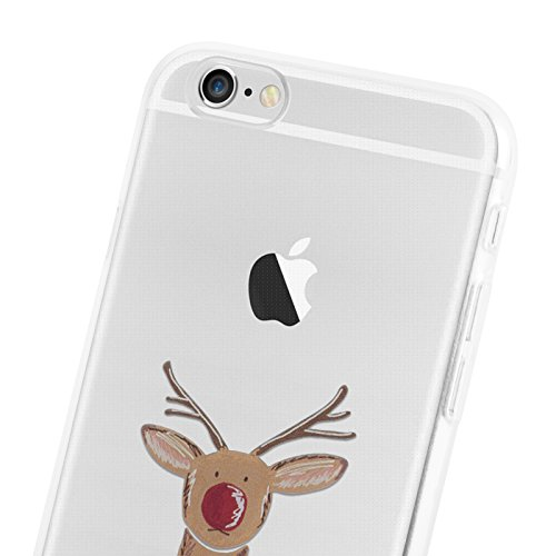 "iPhone 6 Hülle, JAMMYLIZARD Transparentes Gel Weihnachts-Sketch Back Cover aus Silikon für iPhone 6 / 6s 4.7"", CHRISTMAS IS COMING RUDOLF"