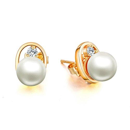 Orecchini per donne forma di occhi - Placcato oro 24K - 7,5 mm perle naturali